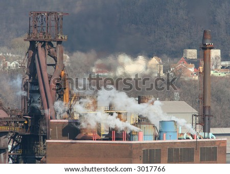 Steel mill blast furnace.