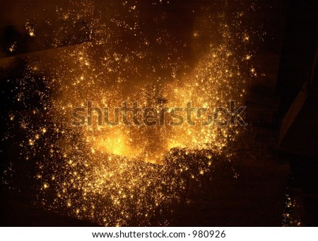 Steel mill sparks.
