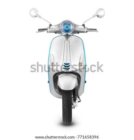Steel Motor Scooter Isolated on White Background. Front View of Metallic Vintage Electric Motorcycle with Step-Through Frame and Platform. Retro Personal Transport. Classic Vehicle