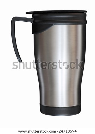 steel mug isolated on white background with clipping path