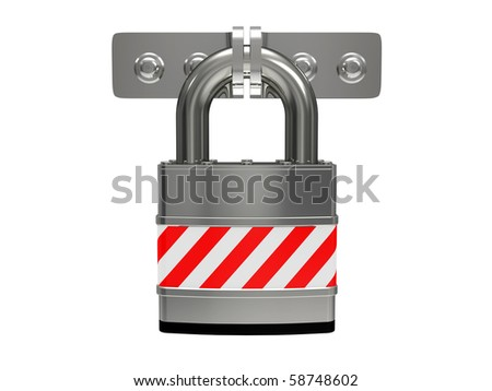 Steel padlock isolated on a white background