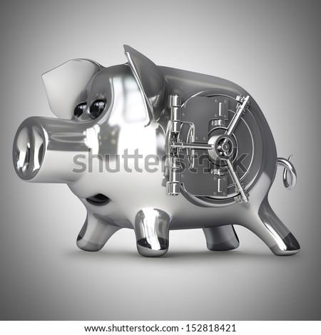 steel Piggy bank with vault door. High resolution 3d render