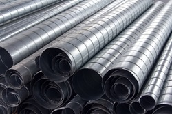 Steel pipes for ventilation system. Ventilation ducts components Construction equipment.