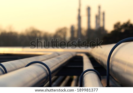 steel pipes in crude oil factory