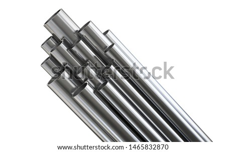 Steel pipes, isolated on white background. Clipping path included. 3d illustration.