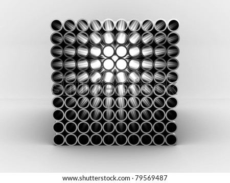 Steel pipes isolated on white background. 3D