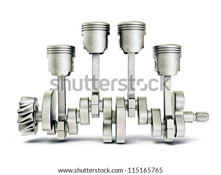 steel pistons isolated on a white background