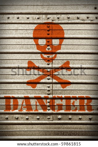 Steel plate background with hazard symbol and danger text.