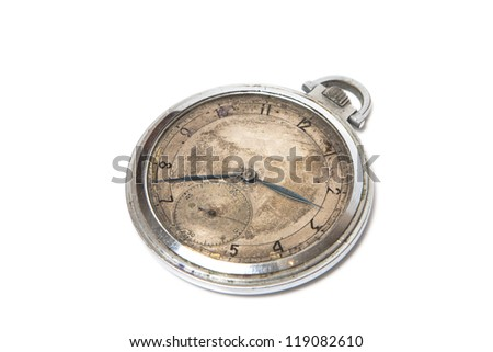 steel pocket watch, old style, isolated on white
