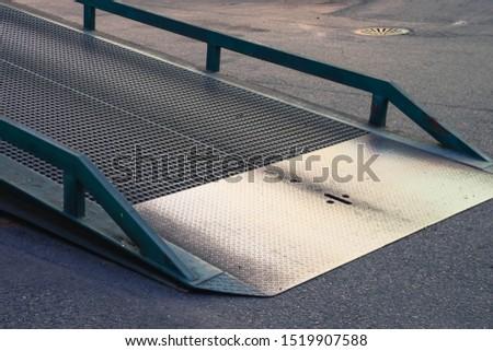 Steel portable yard ramps - mobile dock Stockfoto ©