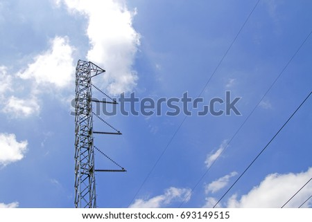Steel power poles With blue sky #693149515