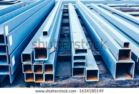 Steel profiles stored outdoors ready for shipping Shipbuilding industry