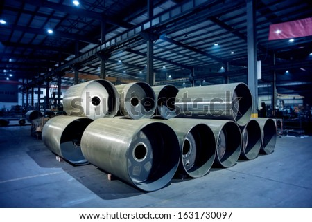 Steel raw materials stored in the factory