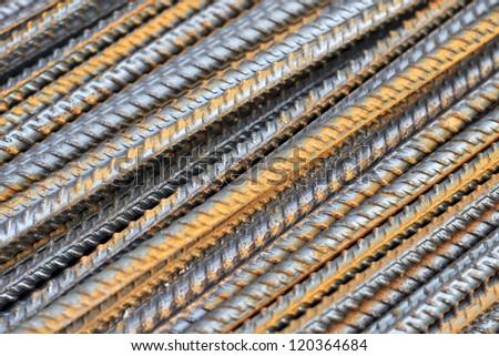 Steel reinforcement closeup - stock photo