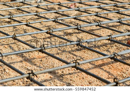 Steel rod or steel bar that was cross connected by steel wire for prepare to  concrete pouring construction, reinforcement metal framework for concrete pouring #559847452