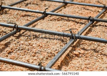 Steel rod or steel bar that was cross connected by steel wire for prepare to concrete pouring construction, reinforcement metal framework for concrete pouring #566795140