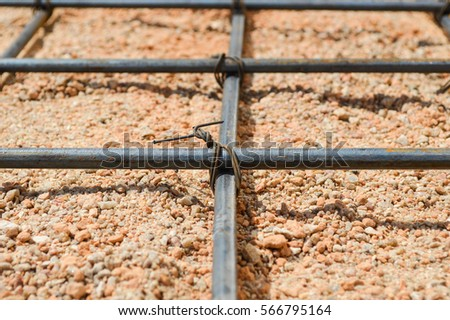 Steel rod or steel bar that was cross connected by steel wire for prepare to concrete pouring construction, reinforcement metal framework for concrete pouring #566795164