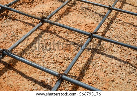 Steel rod or steel bar that was cross connected by steel wire for prepare to concrete pouring construction, reinforcement metal framework for concrete pouring #566795176