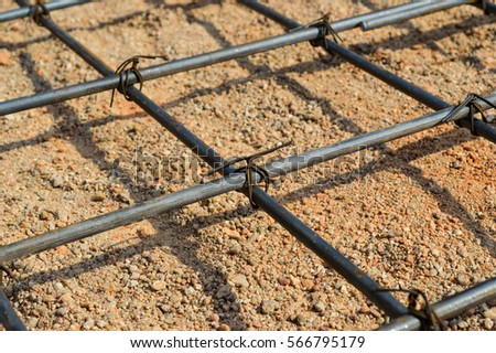 Steel rod or steel bar that was cross connected by steel wire for prepare to concrete pouring construction, reinforcement metal framework for concrete pouring #566795179
