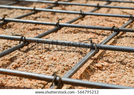 Steel rod or steel bar that was cross connected by steel wire for prepare to concrete pouring construction, reinforcement metal framework for concrete pouring #566795212