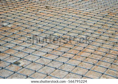 Steel rod or steel bar that was cross connected by steel wire for prepare to concrete pouring construction, reinforcement metal framework for concrete pouring #566795224