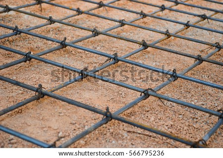 Steel rod or steel bar that was cross connected by steel wire for prepare to concrete pouring construction, reinforcement metal framework for concrete pouring #566795236
