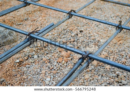 Steel rod or steel bar that was cross connected by steel wire for prepare to concrete pouring construction, reinforcement metal framework for concrete pouring #566795248