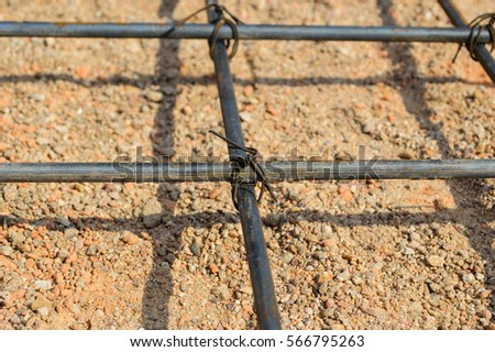 Steel rod or steel bar that was cross connected by steel wire for prepare to concrete pouring construction, reinforcement metal framework for concrete pouring #566795263