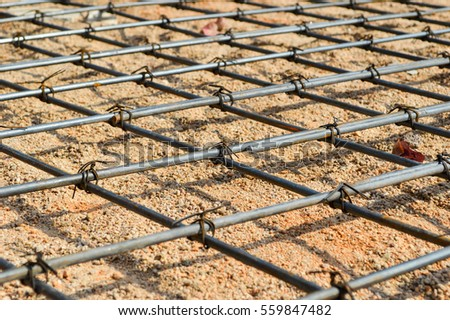 Steel rod or steel bar that was cross connected by steel wire for prepare to  pouring concrete construction, reinforcement metal framework for concrete pouring #559847482