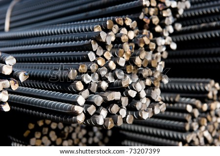 Steel rods or bars used to reinforce concrete.  macro with shallow depth of field.