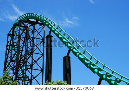 Steel roller coaster against blue sky