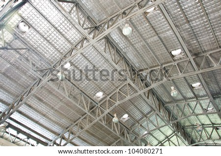 Steel roof structure.
