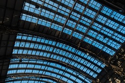 Steel roof structure pattern design for Train station with Blue sky
