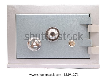 Steel Safe Home-Bank on white background .