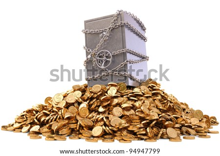 steel safe in chains on a pile of gold coins. isolated on white.