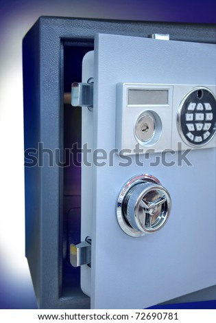 steel safe with opened door