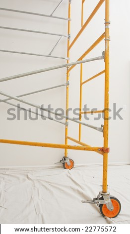 steel scaffolding assembled indoors