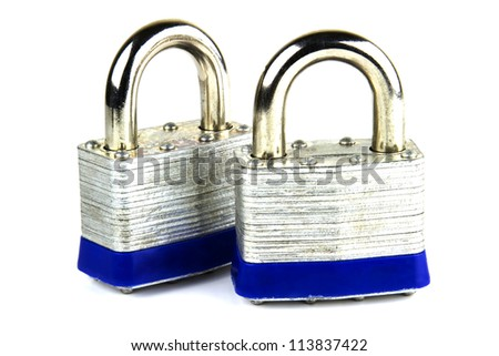 Steel security padlocks isolated on white