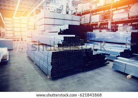 Steel, Shelf with structural materials on the shelves in the building warehouse. high contrast and monochrome color tone.
