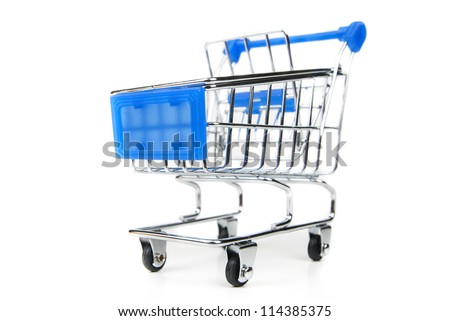 steel shopping cart with blue handle on white background