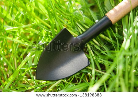 Steel shovel on garden ground