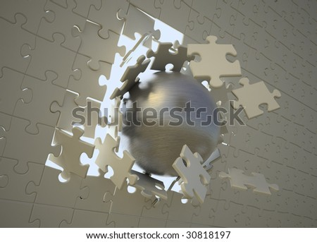 Steel sphere breaking through a puzzle