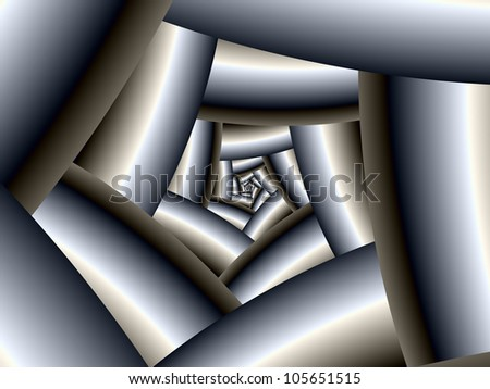 Steel Spiral/Digital abstract image with a spiral design in metallic silver.