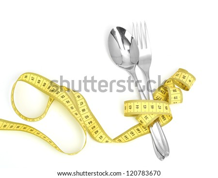 Steel spoon a fork and measuring tape  isolated on white background