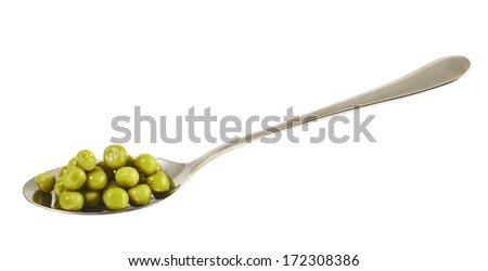 Steel spoon full of green peas isolated over white background