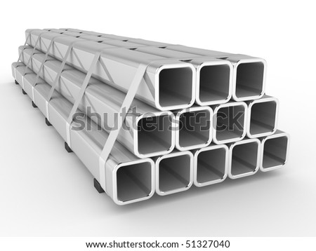 Steel square a profile on a white background