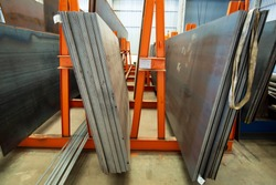 Steel stock plate storage in warehouse industry