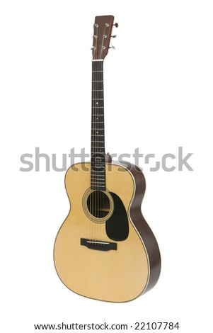 Steel-string acoustic guitar isolated on white.