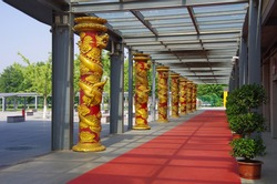 Steel structure and dragon pillar, Oriental traditional elements.