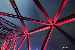 Steel structure bridge close-up night scene